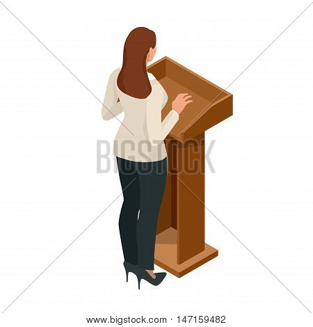 Business woman giving a presentation in a conference or meeting setting. Orator speaking from tribune vector illustration.