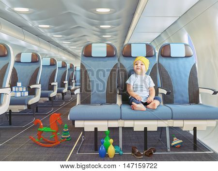 little boy  in the airplane cabin. Photo combination concept.