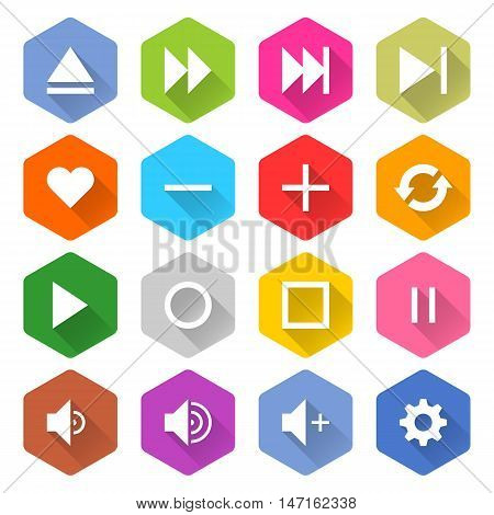 Flat media icons 16 set rounded hexagon web button on white background. Simple minimalistic mono long shadow style. Vector illustration internet design graphic element 10 eps
