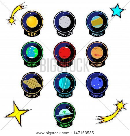 Fashionable patch badge for kids. Patch badges with planets of solar system, stars, comets and alien spaceship. Vector patch.