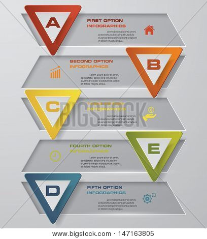 5 steps with triangle shape bulletins clean banner template for presentation. EPS10.