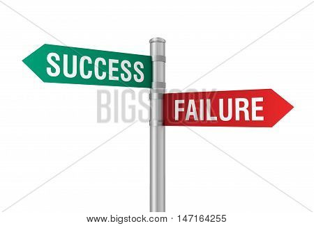 success failure road sign 3d concept illustration on white background