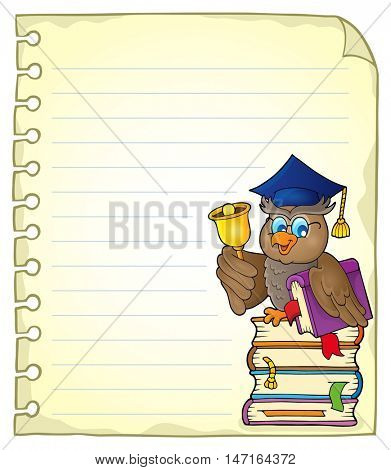Notebook page with owl teacher 4 - eps10 vector illustration.