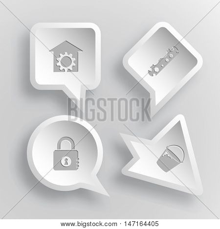 4 images: repair shop, cycle spanner, closed lock, bucket. Industrial tools set. Paper stickers. Vector illustration icons.