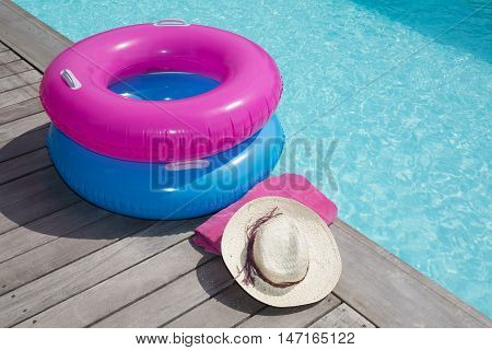 For Holidays Around The Pool, A Hat And Bikini