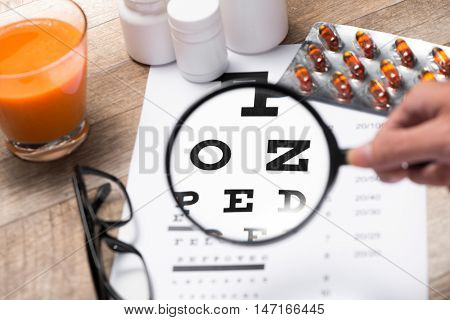 Healthy eyes. Eye chart and medicine. Caring for eye sight