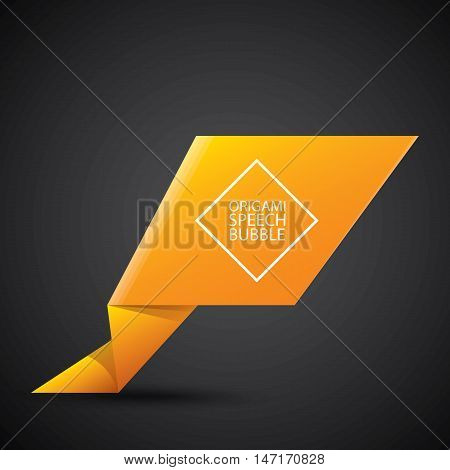 Abstract glossy orange origami speech bubble. Vector abstract orange background. vector orange sale banner