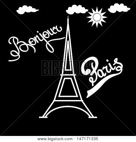 T shirt typography graphic with quote Bonjour Paris. Fashion print for sports wear. Template for t shirt apparel card poster. Design element. Eiffel Tower as symbol of love. Vector illustration