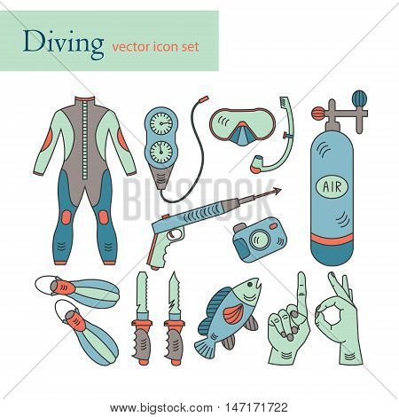 Vector line icons with diving equipment. Linear colored icons of scuba, oxygen balloon, diver knife, harpoon, spear gun, gauge, camera.