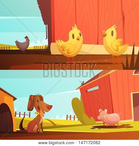 Farm animals for kids 2 horizontal cartoon style banners with  doghouse for guard dog isolated vector illustration