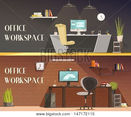 Modern office workspace furniture and accessories cartoon vector banners set with desk lamps and cabinets vector isolated illustration