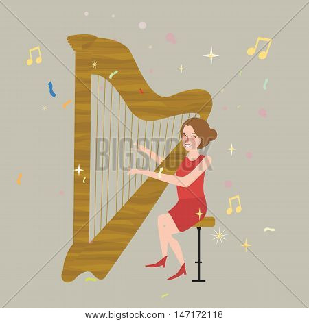 girl playing harp musical instrument with strings illustration vector