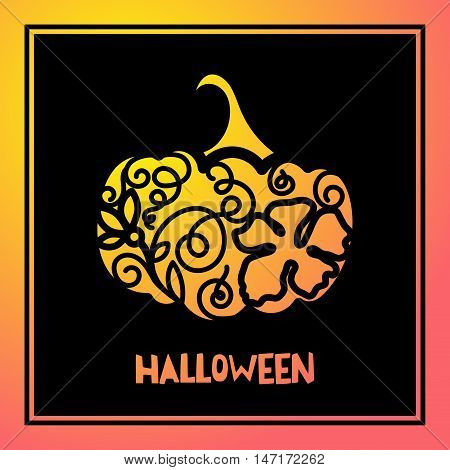 Laser cutting template pumpkin for Halloween. Cutting file. Lettering silhouette pattern. Die Cut vector. Cardmaking. EasyPrintPD
