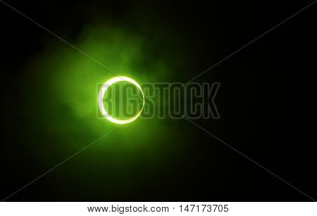 Solar Eclipse in Maldives 15 January 2014. Photographed through green filter.