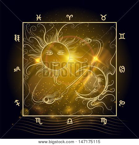 Astrology map sun moon and signs of Zodiak on shining background vector
