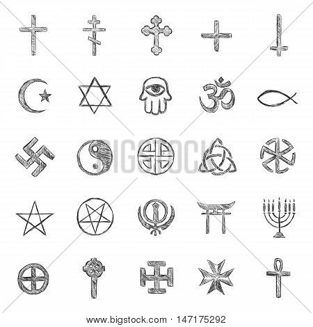 vector set of Isolated sketch religious symbols