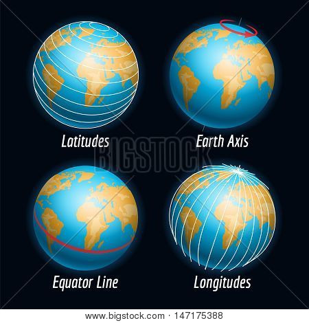 Earth vector with latitudes longitudes earth axis and equater line