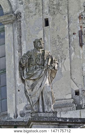 statue of the saint on the facade of the Catholic Church of Exaltation of the Holy. Joseph 18th century