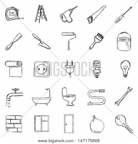 Vector Set Of Sketch Home Repairing