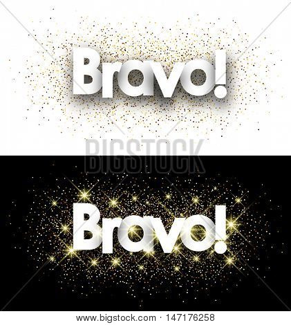Bravo paper banners set with shining sand. Vector illustration.