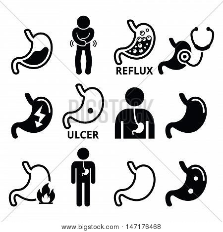 Stomach diseases - reflux, ulcer vector icons set