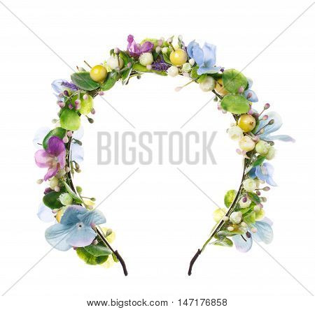 Hoop from flowers, wreath with colored flowers. Handmade flowers wreath on white. Accessory. Artificial flowers. Hair accessories. Beauty. Fashion. Decoration for the head. Wreath hair