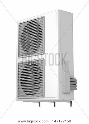 Outdoor unit of central air conditioner isolated on white, 3D illustration