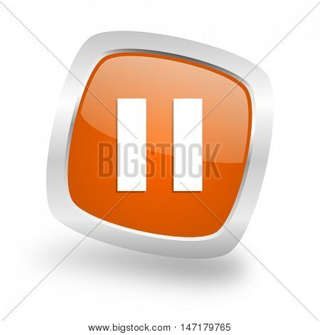 pause square glossy orange chrome silver metallic web icon