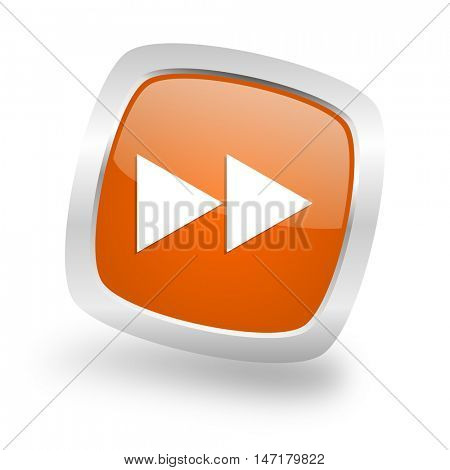 rewind square glossy orange chrome silver metallic web icon