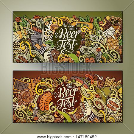 Cartoon cute colorful vector hand drawn doodles Octoberfest corporate identity. 2 horizontal banners design. Templates set