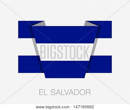 Flag Of El Salvador. Flat Icon Wavering Flag With Country Name