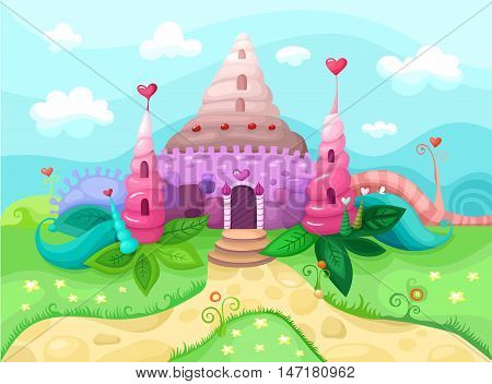vector illustration with a magic colorful castle