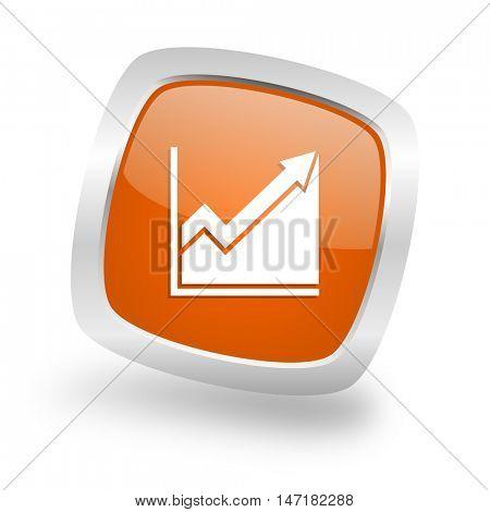 histogram square glossy orange chrome silver metallic web icon