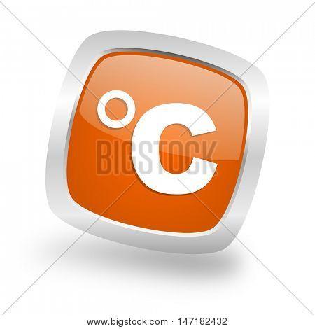 celsius square glossy orange chrome silver metallic web icon