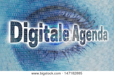 Digital Agenda eye with matrix looks at viewer concept.