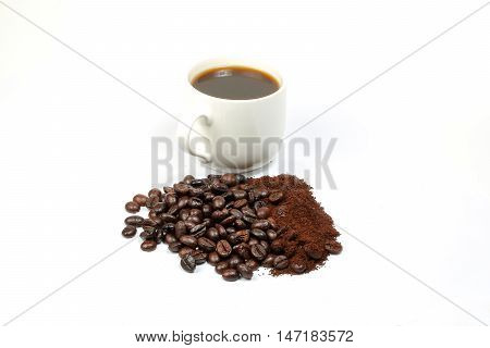Coffee Bean Roasted Fresh whole powder cup on white background