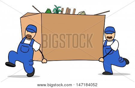 Two cartoon moving helper carrying huge box during relocation