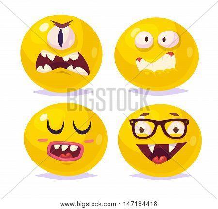 Set of halloween funny smiles. Vampire Dracula monster cyclops. Vector cartoon illustration. Cute stylish characters.