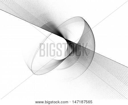 Black and white fractal. Abstract fractal computer-generated image. Fractal background.