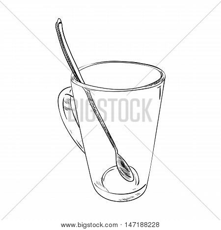 Vector Sketch Of Glass Cup With Spoon