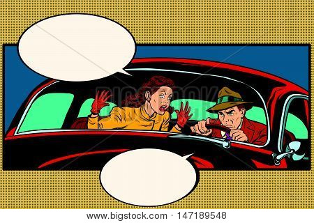 Husband and wife quarrel in the car, pop art retro vector illustration. family conflict