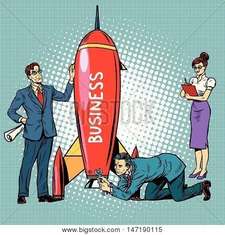 business startup, businessmen and businesswomen launch a rocket, pop art retro vector illustration