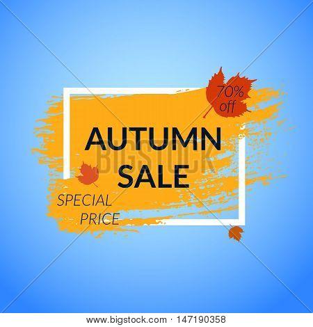 Autumn Sale banner with leaves. Orange Paint brush background. Vector illustration.