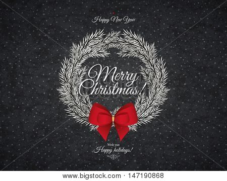 Christmas and New Year. Vector greeting card with Christmas wreath and red bow