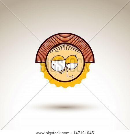 Vector graphic art drawing of kid face hand drawn cute girl with stylish haircut.