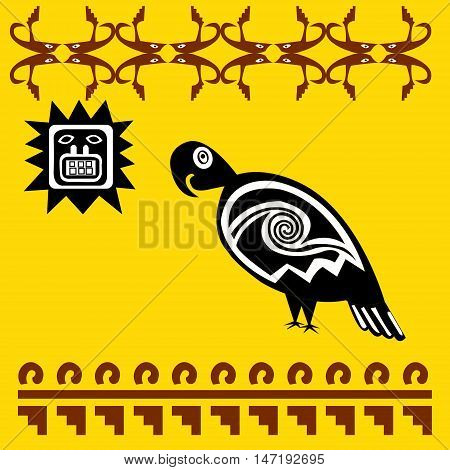 A parrot and sun -stylized graphics. Ethnic pattern of American Indians: Aztecs, Mayans, Incas. drawing in the Mexican style. Vector illustration.