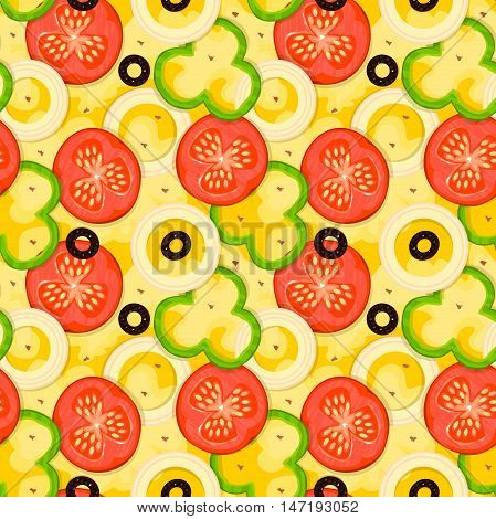 Hot fragrant pizza, fast food delivery bissnes background, vector seamless pattern