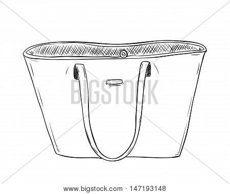 Vector sketch of ladies handbag. Female stylish fashion bag. Women bag hand draw illustration.