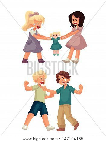 Set of little girls fighting over a doll and boys punching each other, cartoon style illustration isolated on white background. Fighting, arguing kids. Children fight