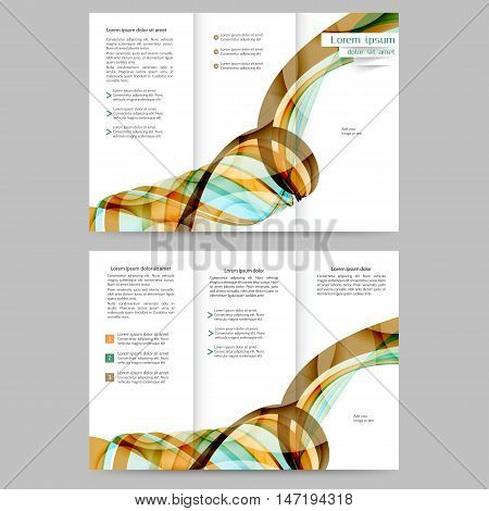 Color tri fold business brochure design template with abstract brown and blue lines and waves